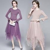 VK精品服飾 歐美風時尚荷葉邊收腰拼接網紗下擺長袖洋裝