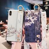 蘋果 iPhoneX iPhone8 Plus iPhone7 Plus iPhone6s Plus 花卉腕帶殼 手機殼 手帶 掛繩 全包邊 保護殼
