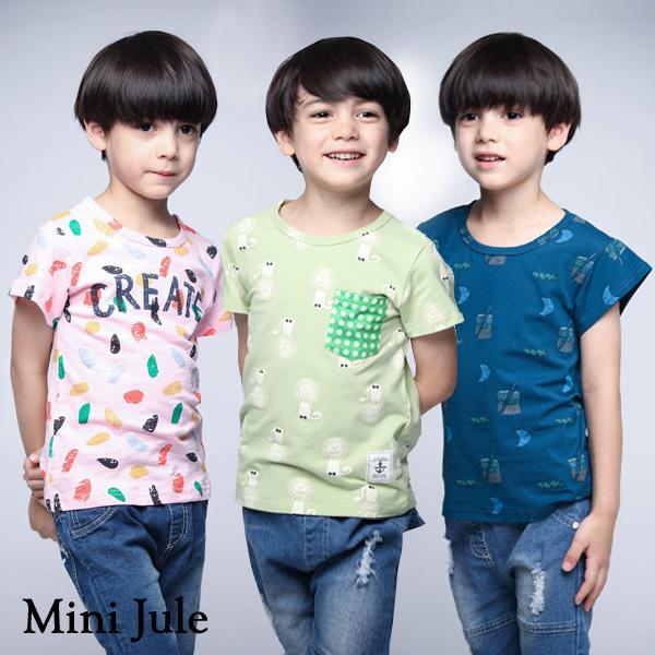 Mini Jule 童裝 上衣 月亮水杯印花/彩點字母/滿版獅子點點口袋短袖上衣(共3款)