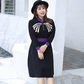 中大尺碼~高領A字下擺長袖連衣裙(XL~4XL)
