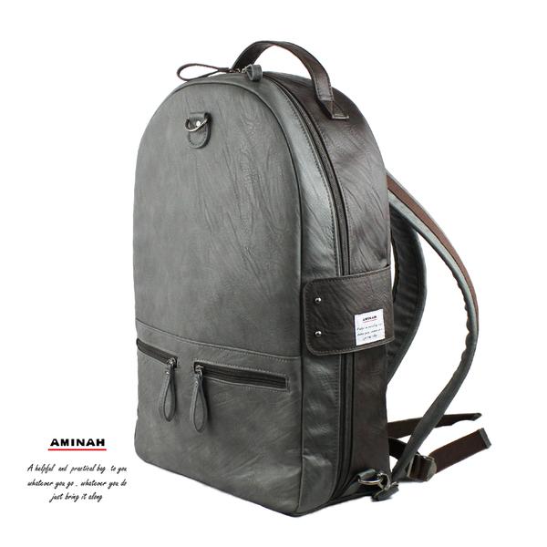 灰色系-雙面皮革後背包  AMINAH~【am-0307】