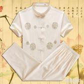 短袖套裝中國風老年人唐裝漢服2件套   LY7680『時尚玩家』