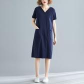 【免運】洋氣洋裝大碼女裝寬鬆韓版中長款夏裝200斤胖mm短袖T恤v領連衣裙顯瘦