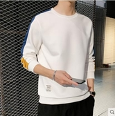 長袖T恤長袖T恤男士連帽T恤寬鬆春秋上衣服秋衣潮流秋季男裝新款打底衫 唯伊時尚