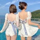 韓國東大門ins風姐妹純白女神保守連體露背裙式溫泉度假游泳衣女