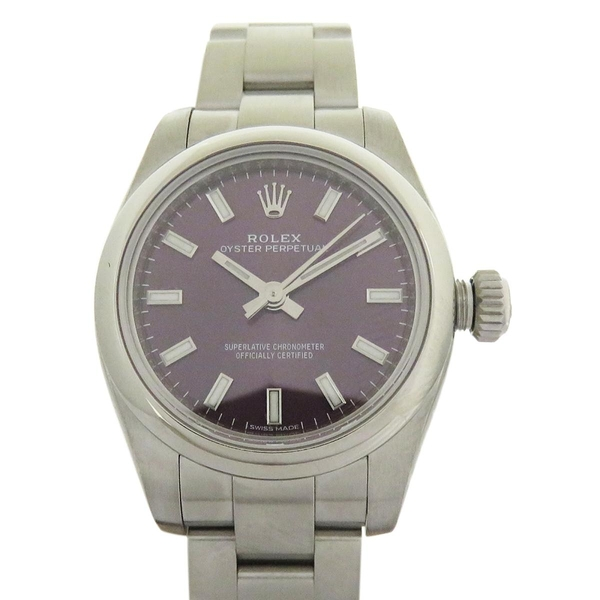 ROLEX 勞力士 Oyster Perpetual 蠔式恆動葡萄紫面盤不銹鋼腕錶 176200【BRAND OFF】