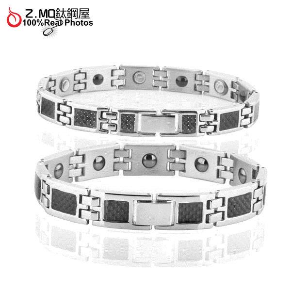[Z-MO鈦鋼屋]316鈦鋼手環/黑色碳纖維設計/能量磁石/男女健康手環單件價【CKY3355】