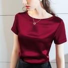 涼感衣 醋酸短袖t恤女紅色夏涼感絲滑拼接棉t恤正韓寬鬆大碼緞面上衣-Ballet朵朵