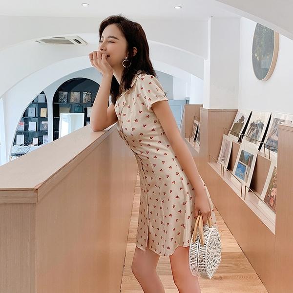 出清388 韓系復古小清新單排扣櫻桃短袖洋裝