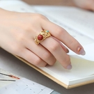 戒指 鍍銀制女復古個性宮廷民族風大氣優雅開口食指紅石飾品戒指/指環