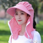 夏季遮陽防曬防紫外線護頸面紗大簷媽媽採茶全遮臉乾活太陽帽子女 伊莎gz