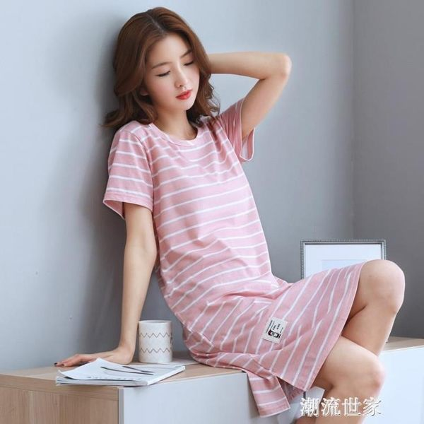 夏天短袖純棉睡裙女夏季寬鬆中長連衣裙家居服全棉睡衣條紋加大碼『潮流世家』