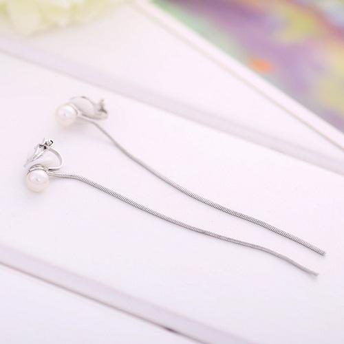 【NiNi Me】 夾式耳環 氣質甜美珍珠長流蘇夾式耳環 夾式耳環 E0007