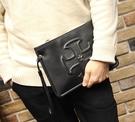 FINDSENSE Z1 韓國 時尚 潮 男 黑色 皮質 十字圖案 休閒 手拿包