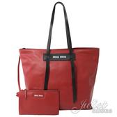 茱麗葉精品【全新現貨】MIU MIU 5BG116 Grace Lux 小牛皮肩背托特包.紅