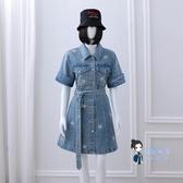 牛仔洋裝 同款連身裙夏季縮腰顯瘦A字中長款短袖牛仔裙子T