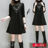 中大尺碼 V領燙鑽拼貼長袖A字洋裝 XL-5XL O-Ker歐珂兒 159001-1-C