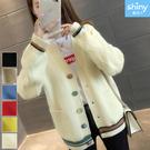 【V3008】shiny藍格子-簡搭風格.V領雙口袋撞色條針織外套