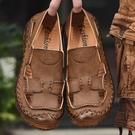 大碼夏季牛筋底皮涼鞋男真皮2021男士沙灘鞋全牛皮軟底涼皮鞋防滑 依凡卡時尚
