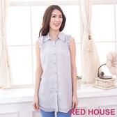 【RED HOUSE-蕾赫斯】細格紋荷葉邊無袖襯衫(灰色)