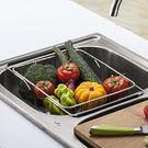 新款304不銹鋼瀝水籃可伸縮水槽瀝水架 果蔬籃瀝水碗碟架