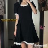 蕾絲洋裝 黑色連身裙女裝蕾絲拼接復古方領法式小黑裙夏季氣質收腰顯瘦裙子 愛麗絲