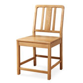 原木日式流雲白橡木實木簡約餐椅-原木坐面-兩入組