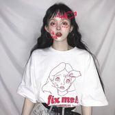 T恤 韓版中長款寬鬆卡通女孩怪味少女短袖T恤夏季學生上衣女裝bf風潮1件免運下殺75折