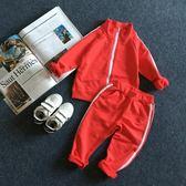 女童套裝 運動拉鏈外套 休閒褲兩件套裝童兒童秋裝新款潮款簡約范 米蘭街頭