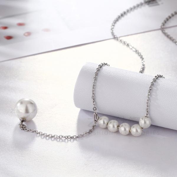 316L鈦鋼項鍊 鈦鋼色 氣質風格 女性項鍊 氣質珍珠項鍊 生日禮物 閨蜜 單條價【AJS172】Z.MO鈦鋼屋