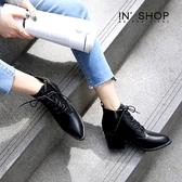 IN' SHOP 尖頭靴-熱銷個性綁帶粗跟側拉鍊中筒靴【KF00681】