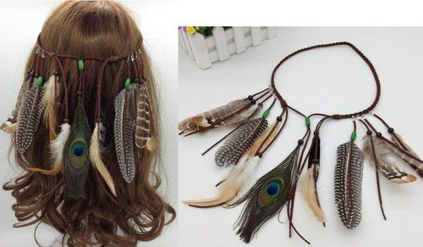 ★草魚妹★H364波西米亞印地安民族風嘻皮流蘇孔雀羽毛麻花辮髮飾髮帶髮圈髮箍頭飾,售價180元