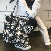 韓風in復古風簡約椰子樹單肩帆布包原宿男女手提學生包購物袋撞色