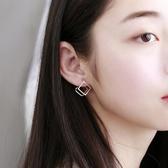 耳環:S925純銀立方體鏤空耳釘女  【新飾界】 新飾界