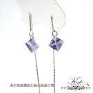 純銀耳環 銀飾 菱形紫羅蘭鋯石 鍊式 輕柔閃亮 輕盈穿搭 925純銀寶石耳環 KATE銀飾