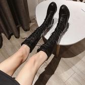 長靴女過膝高跟新款秋款加絨高筒馬丁靴粗跟彈力瘦瘦靴百搭冬   蘑菇街小屋