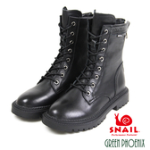 U3-21965 女款牛皮短靴  簡約素面金屬裝飾綁帶牛皮厚底軍靴/短靴【GREEN PHOENIX】SNAIL蝸牛