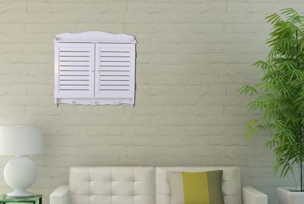 田園風格 白色百葉窗 牆壁掛飾牆飾壁飾 配電箱電表箱電錶箱變電箱電箱 遮擋裝飾用窗框(小)