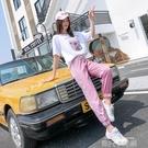 休閒跑步運動服套裝女夏季2020學生九分褲網紅寬鬆嘻哈洋氣兩件套 依凡卡時尚