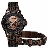 POLICE 搖滾硬漢骷髏造型腕錶-玫瑰棕-15530SKQBZ-SET2