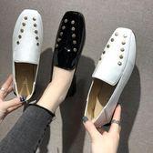 樂福鞋豆豆鞋女2019春季新款英倫風小皮鞋復古百搭一腳蹬平底單鞋樂福鞋 芊墨左岸
