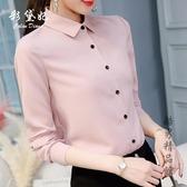彩黛妃2019春夏新款女式韓版純色長袖顯瘦潮流大碼休閒雪紡襯衫