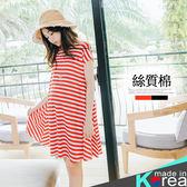 哈韓孕媽咪孕婦裝*【HC4462】正韓製.舒適條紋絲質棉傘狀洋裝