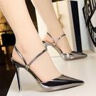 快速出貨 歐美 銀色尖頭鞋漆皮金屬細跟水鉆單鞋高跟一字帶女拖 涼鞋