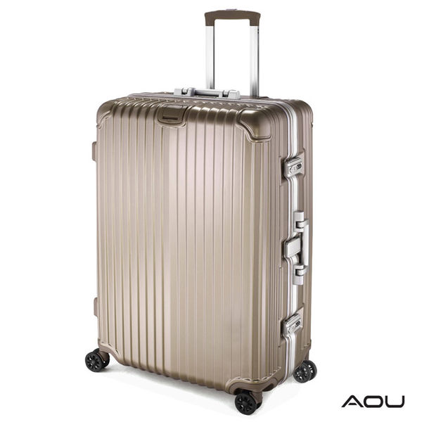 AOU 絕美時尚系列 25吋全面強化德國PC材料專利行李箱 (香檳金) 90-025B