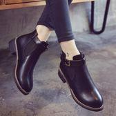 韓版春秋馬丁靴粗跟中跟英倫風皮帶扣裸靴防滑學生短靴女靴子  元宵鉅惠 限時免運