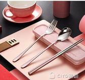 筷子勺子套裝長柄便攜式餐具三件套 外帶叉子學生成人創意可愛盒      ciyo黛雅