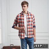 【JEEP】經典格紋長袖襯衫 (橘色)