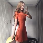 2018夏季新款韓版氣質短袖小香風綁帶收腰顯瘦連衣裙A字打底裙女