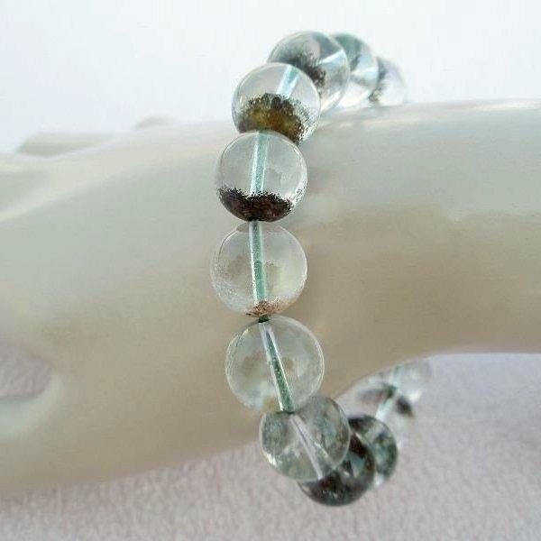 【歡喜心珠寶】【天然巴西綠幽靈水晶圓珠13mm手鍊】16顆.重51g「附保証書」超低價售出